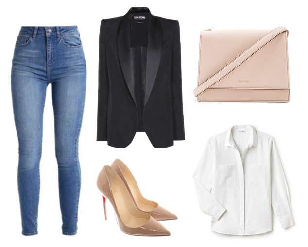 jeans, blazer preto, scarpin nude, bolsa nude, camisa branca