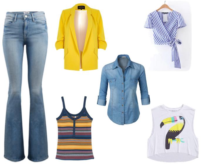 calça jeans, blazer amarelo, camisa jeans, camiseta listrada, blusa listrada com laço, camiseta com estampa de tucano