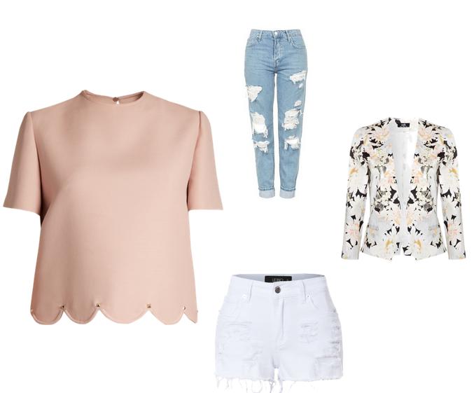 Blusa rosa, calça jeans destroyed, short branco, blazer floral