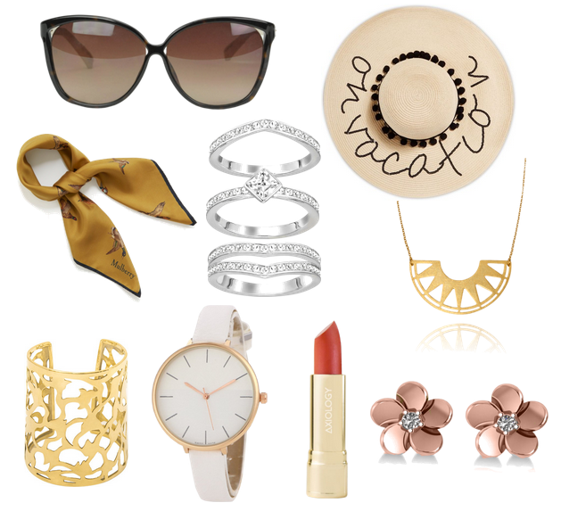 óculos de sol, lenço, brinco, anéis, colar, chapéu, batom vermelho, relógio